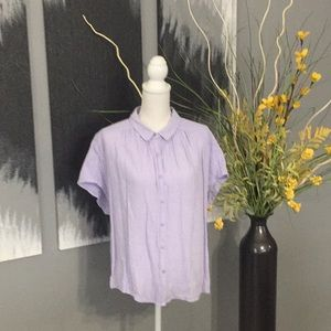 Tops - Short sleeve button down lavender shirt